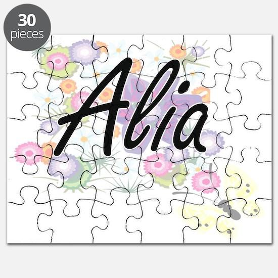 Alia Artistic Name Design with Flowers Puzzle
