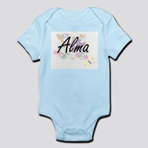 Alma Artistic Name Design with Flowers Body Suit