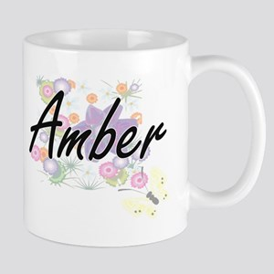 Amber Artistic Name Design with Flowers Mugs