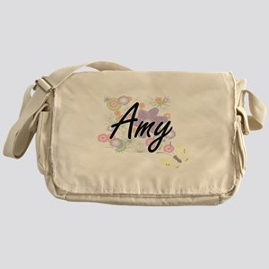 Amy Artistic Name Design with Flower Messenger Bag