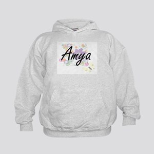 Amya Artistic Name Design with Flowers Kids Hoodie
