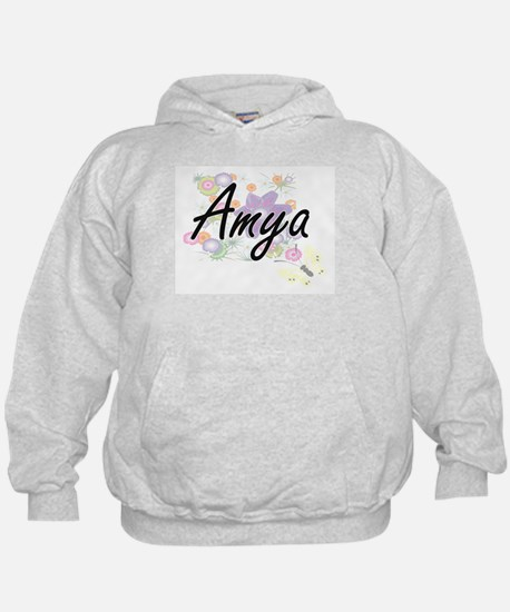 Amya Artistic Name Design with Flowers Hoodie