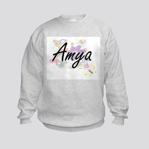 Amya Artistic Name Design with Flo Kids Sweatshirt