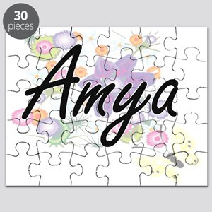 Amya Artistic Name Design with Flowers Puzzle
