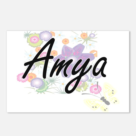 Amya Artistic Name Design Postcards (Package of 8)
