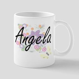 Angela Artistic Name Design with Flowers Mugs