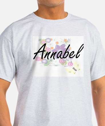 Annabel Artistic Name Design with Flowers T-Shirt