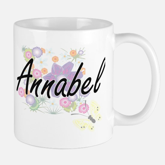 Annabel Artistic Name Design with Flowers Mugs