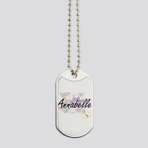 Annabelle Artistic Name Design with Flowe Dog Tags