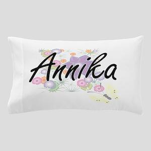 Annika Artistic Name Design with Flowe Pillow Case