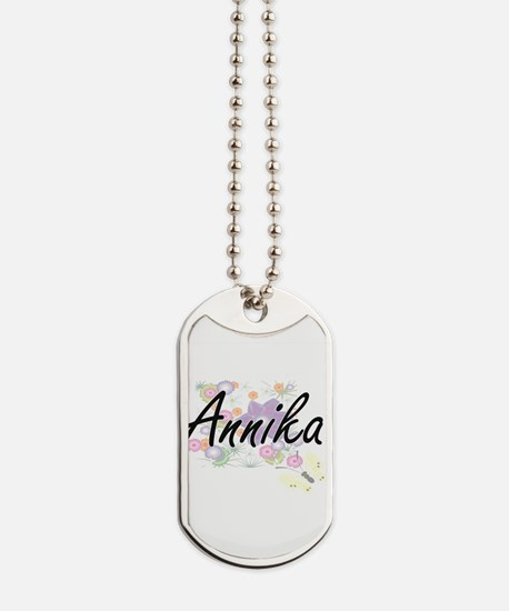 Annika Artistic Name Design with Flowers Dog Tags