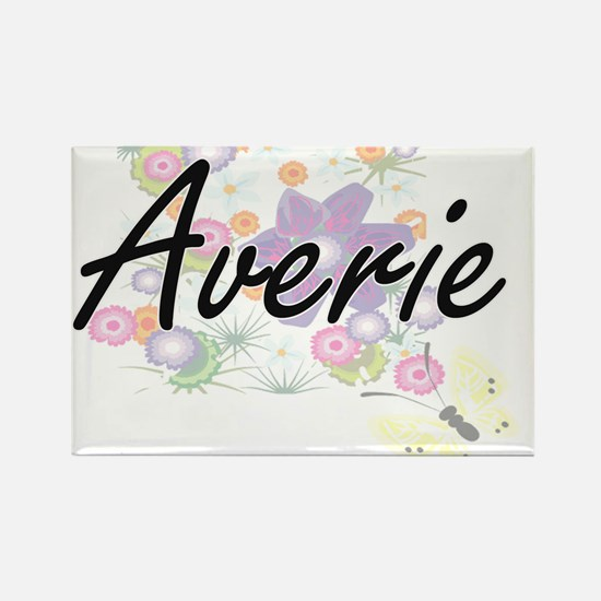 Averie Artistic Name Design with Flowers Magnets