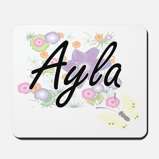 Ayla Artistic Name Design with Flowers Mousepad