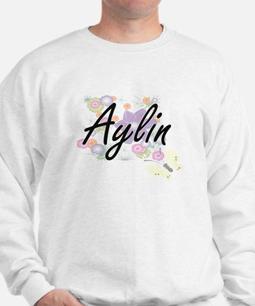 Aylin Artistic Name Design with Flowers Sweater