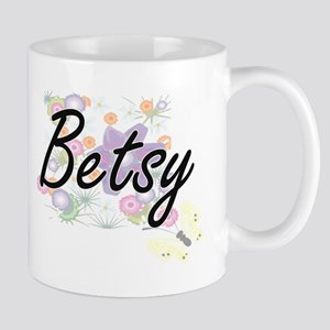 Betsy Artistic Name Design with Flowers Mugs