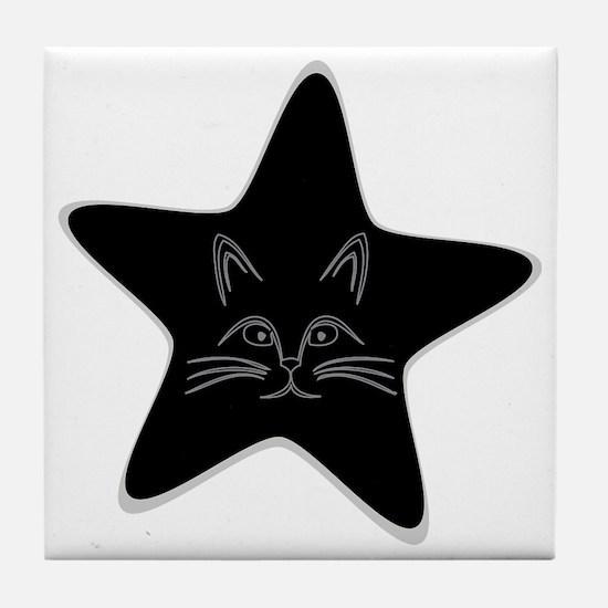 Cute Black cat face Tile Coaster