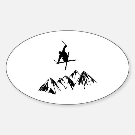 Cute Skier Sticker (Oval)