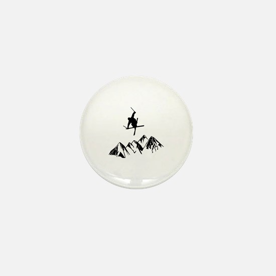 Cute Skier Mini Button