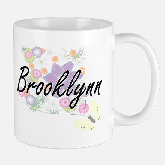 Brooklynn Artistic Name Design with Flowers Mugs