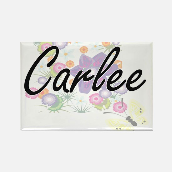 Carlee Artistic Name Design with Flowers Magnets