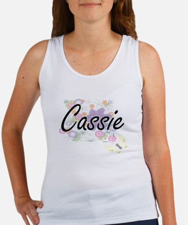 Cassie Artistic Name Design with Flowers Tank Top