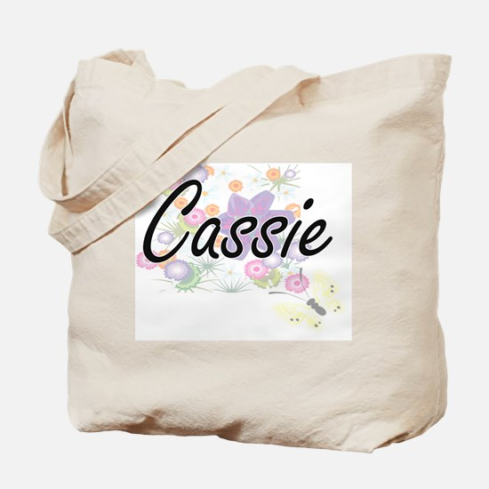 Cassie Artistic Name Design with Flowers Tote Bag