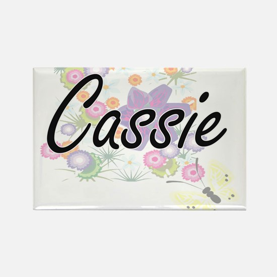 Cassie Artistic Name Design with Flowers Magnets