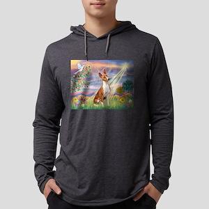 Cloud Angel & Basenji Mens Hooded Shirt