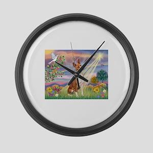 Cloud Angel & Basenji Large Wall Clock