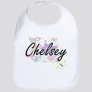 Chelsey Artistic Name Design with Flowers Bib
