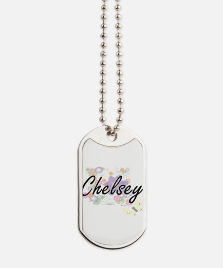Chelsey Artistic Name Design with Flowers Dog Tags