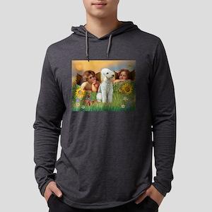 Two Angels / Bedlington Terri Mens Hooded Shirt