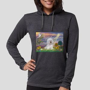 Cloud Angel & Bichon Womens Hooded Shirt