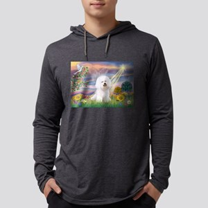 Cloud Angel & Bichon Mens Hooded Shirt