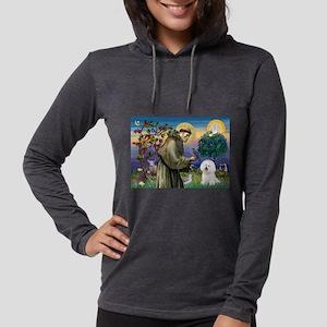 St Francis / Bichon Frise Womens Hooded Shirt