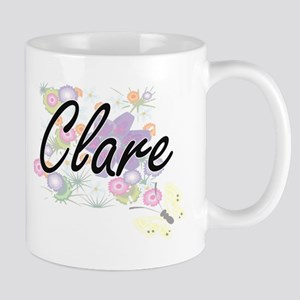 Clare Artistic Name Design with Flowers Mugs