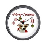 Jack Russell Christmas Greetings Wall Clock