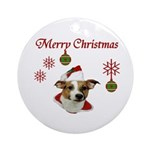 Jack Russell Christmas Greetings Ornament (Round)