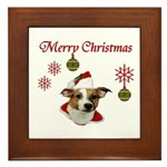 Jack Russell Christmas Greetings Framed Tile