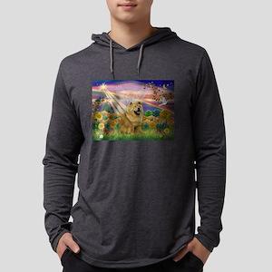Autumn Angel & Chow Mens Hooded Shirt