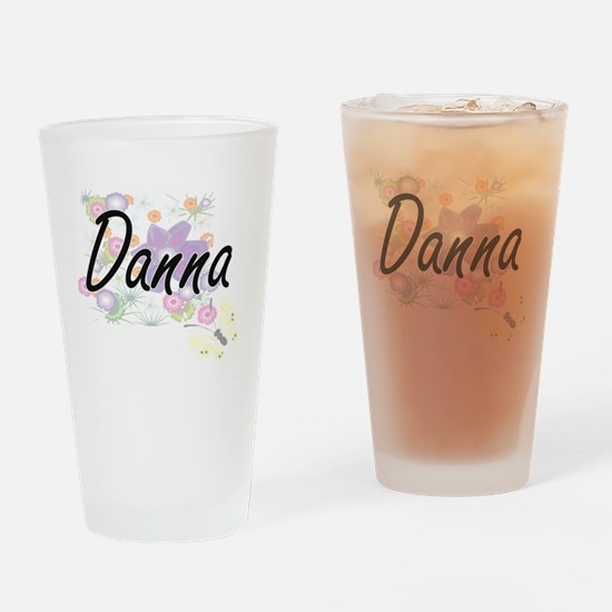 Danna Artistic Name Design with Flo Drinking Glass