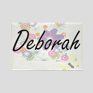 Deborah Artistic Name Design with Flowers Magnets