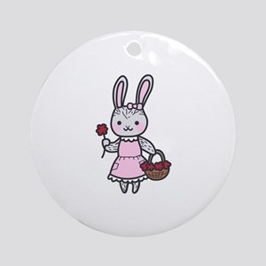 Bunny With Flowers Round Ornament