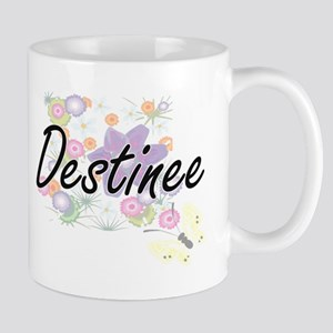 Destinee Artistic Name Design with Flowers Mugs