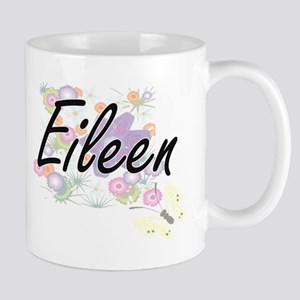Eileen Artistic Name Design with Flowers Mugs