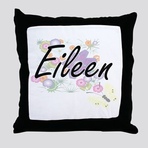 Eileen Artistic Name Design with Flow Throw Pillow