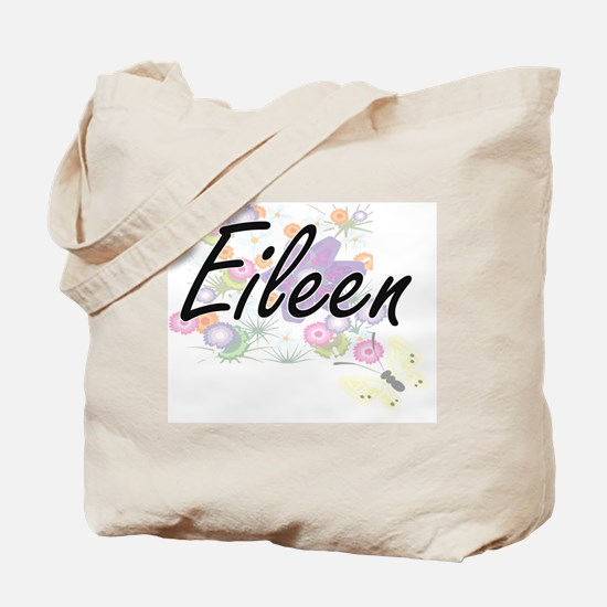 Eileen Artistic Name Design with Flowers Tote Bag