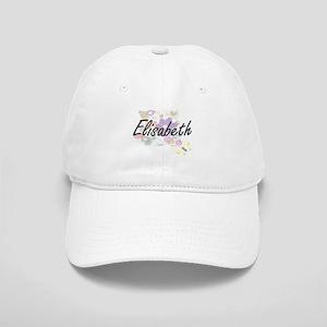 Elisabeth Artistic Name Design with Flowers Cap