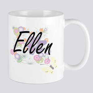 Ellen Artistic Name Design with Flowers Mugs