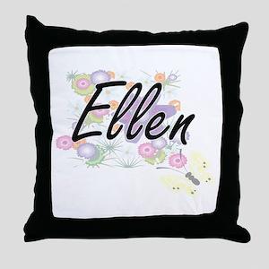 Ellen Artistic Name Design with Flowe Throw Pillow